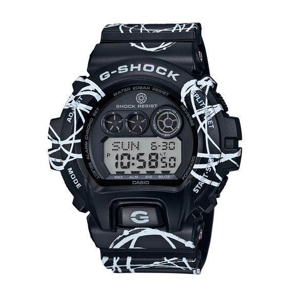 G-Shock join forces once again with NYC graffiti legend, Futura 2000, for this amazing rendition of the classic GD-X6900FTR-1ER. The rugged timepiece features a custom all-over pattern application of Futura's signature Atoms.  Highly essential!