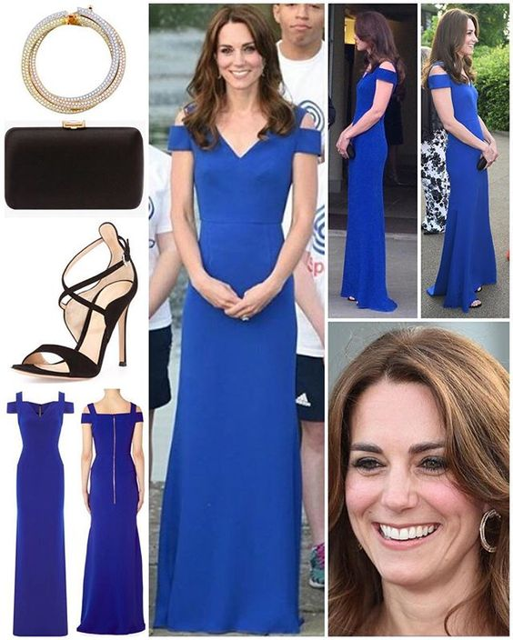 Kate was back in her favourite colour for this evening's gala dinner in honour of Sports Aid's 4th anniversary. The event is being held at Kensington Palace and hosts a number of athletes and ambassadors getting ready to compete in this year's Olympic Games. It was a new dress by Roland Mouret tonight in royal blue with a zipper trailing down the back and cold shoulders retailing for $2,500. Kate also carried her Prada clutch, wore her Gianvitto Rossi criss cross sandals we saw her wear a…