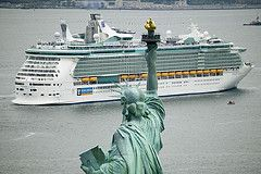 Freedom of the Seas sails past the Statue of Liberty.