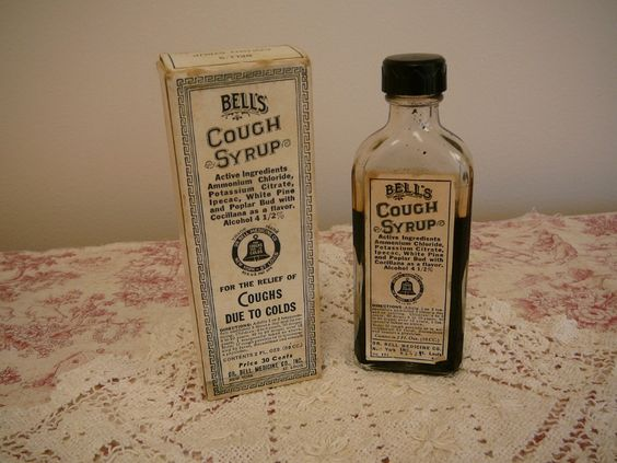 BottleVintage cough syrup bottle and by MyCottageRose on Etsy