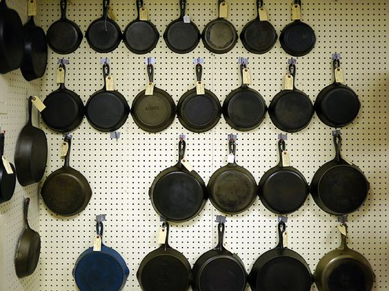 One way to hang cast iron pans