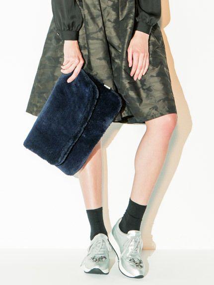 MiiA モコモコファークラッチ/ faux fur clutch on ShopStyle