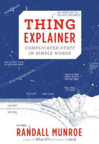 Thing Explainer: Complicated Stuff in Simple Words by Randall Munroe http://www.amazon.com/dp/0544668251/ref=cm_sw_r_pi_dp_bm83vb0GK61QE