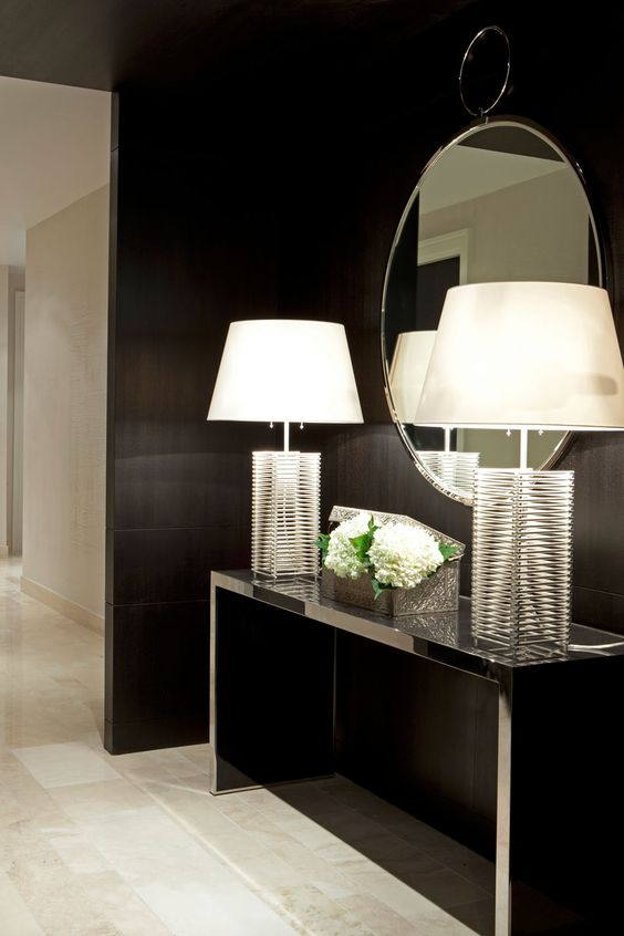Foyer Wall Furniture : Love the whole look lamps mirror against black wall