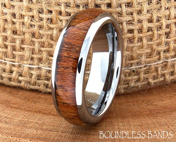 Wood Wedding Band Dome High Polished Ring by BoundlessBands