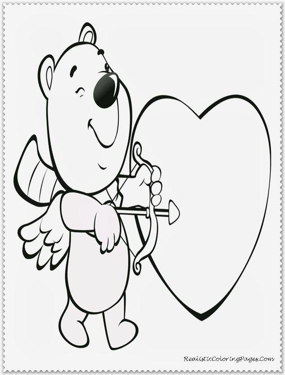 Cupid Bear Kids Valentine Coloring Pages Printable