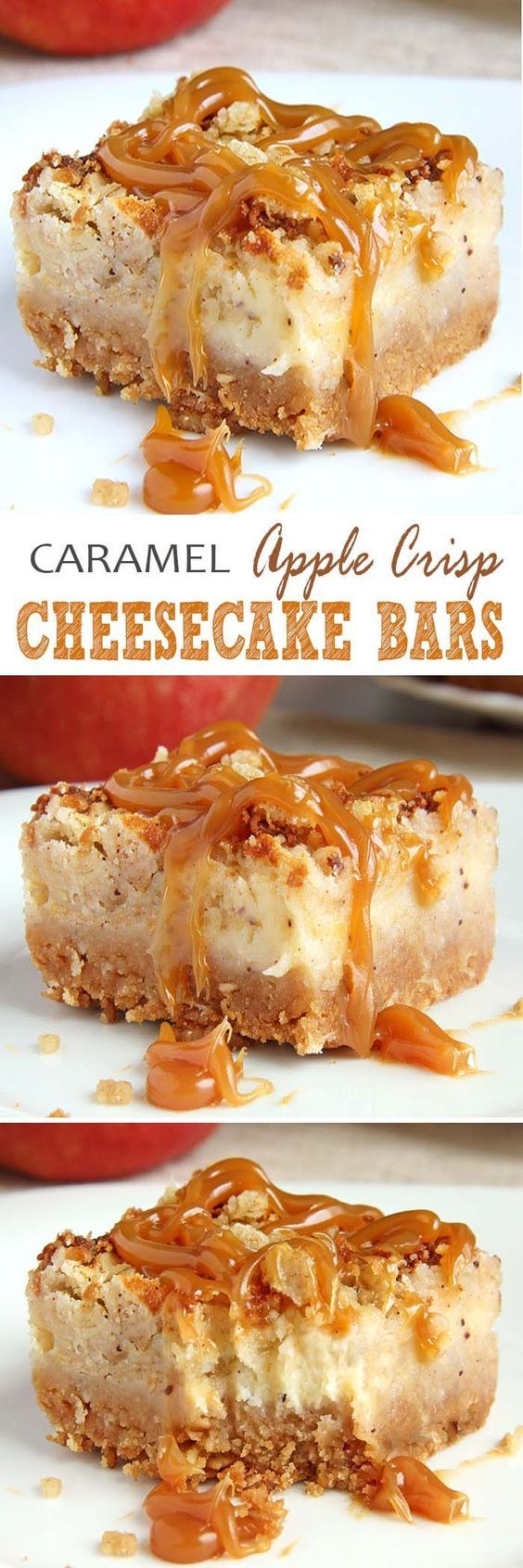 Caramel Apple Crisp Cheesecake Bars Dessert Recipe via Sugar Apron - These Caramel Apple Crisp Cheesecake Bars are ideal choice in the autumn season, but also during holidays, which are knocking on the door. #dessertbars #cookiebars #barsrecipes #dessertforacrowd #partydesserts #christmasdesserts #holidaydesserts #onepandesserts