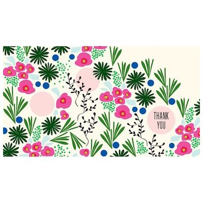 A vibrant garden bursts forth on Snow & Graham's colorful bright new thank you notes. Eight cards and envelopes