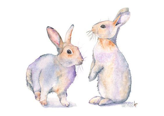 Rabbit watercolor painting rabbit print woodland by LouiseDeMasi