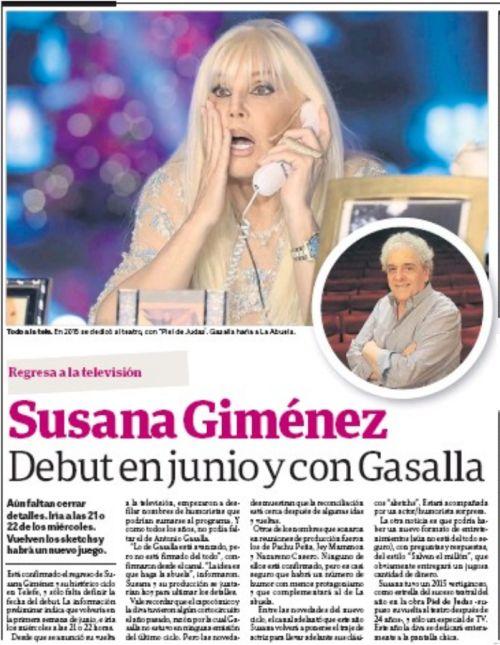 #SUNEWS [HOY] En el diario Clarín: Susana Giménez, debut en junio y con Gasalla. @Su_Gimenez @clarincom @rodolfofast