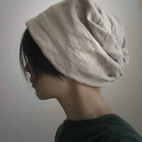 ターバンな帽子 ネイビーリバーシブル 帽子 ターバン ニット帽 作り方