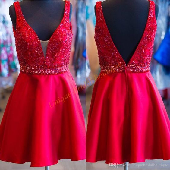 2016 Homecoming Dresses With Deep V Neck And V Back Real Picture Beading Red Satin Short Prom Gowns Custom Good Homecoming Dress Stores Homecoming Dress 2015 From Uniquebridalboutique, $108.5| Dhgate.Com