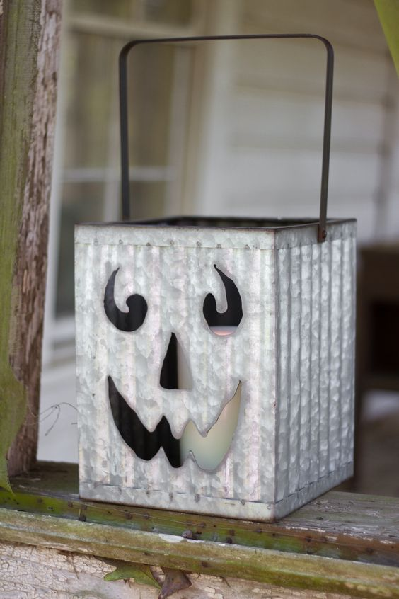 Square Metal Corrugated Jack-O-Lantern With Handle