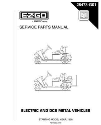 EZGO 28473G01 1998-current Service Parts Manual for E-Z-GO Electric and Drive Control System Metal Vehicles by EZGO. $68.50. Medalist edition 2 fleet; medalist edition 2 fleet direct control system; medalist edition 2 freedom; medalist edition 2 freedom direct control system; medalist edition 2 - 4 caddy. Used for 1998 electric powered utility vehicle. Please Search EZGO Manuals to find a manual for another vehicle.. Provides detailed and thorough information for the ...