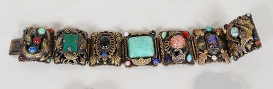 Neiger Chinese & Egyptian Revival Style Panel Bracelet.