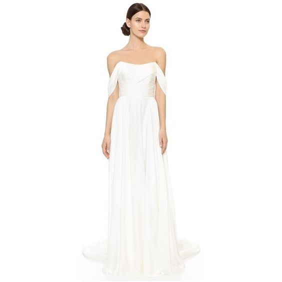 Theia Delphine Off Shoulder Gown (€1.780) ❤ liked on Polyvore featuring dresses, gowns, long dresses, ivory, long sleeve evening gowns, long sleeve ball gowns, white evening gowns and long sleeve evening dresses