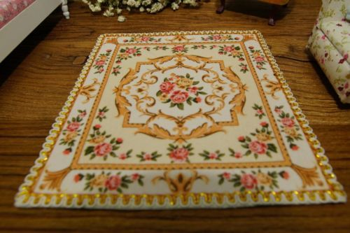 1//12 Dollhouse Nice Rug Wonderful Victorian Roses French Floral Swirls