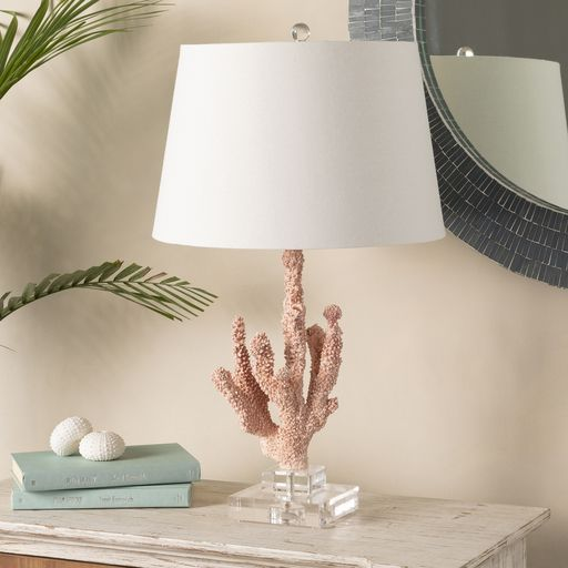Surya S Esme Table Lamp Has A Peach Hand Finished Composition Body And White Linen Shade Perfecto For Coastal Transitional Table Lamps Coral Table Table Lamp