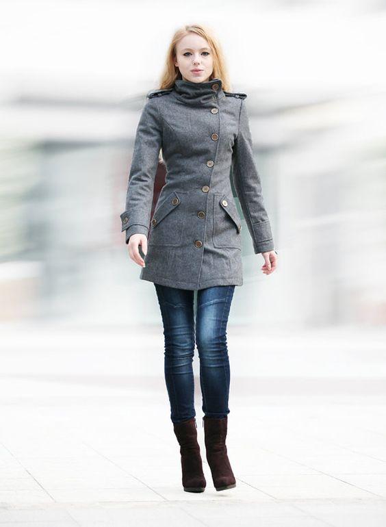 Dark Grey Fitted Coat Military Jacket Winter Wool Coat Women Coat