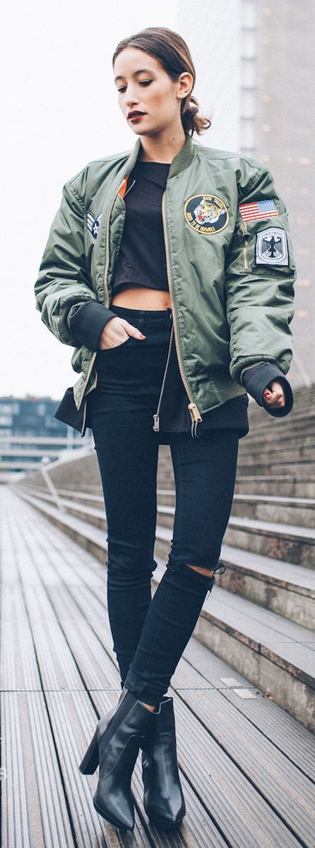 Army Green Patched Bomber Jacket women with style streetwear: