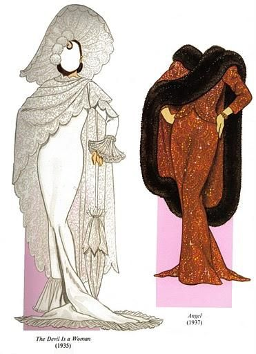 Marlene Dietrich paper doll clothes by Tom Tierney / Dover Pulications