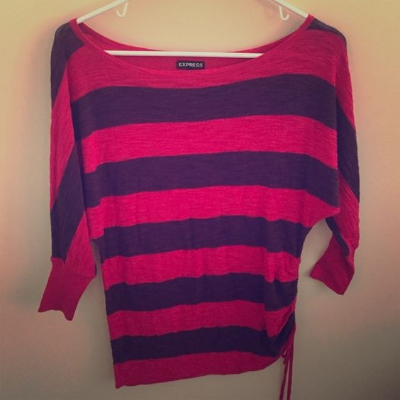 Striped pink/red and plum purple Express top. String on left side for abstract look Express Tops Blouses