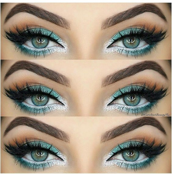 Turquoise green eyes and makeup: