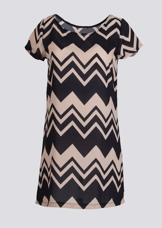 Flying Street Ladies Sheer Chevron Print Dress #chevron #sheer #tunicdress