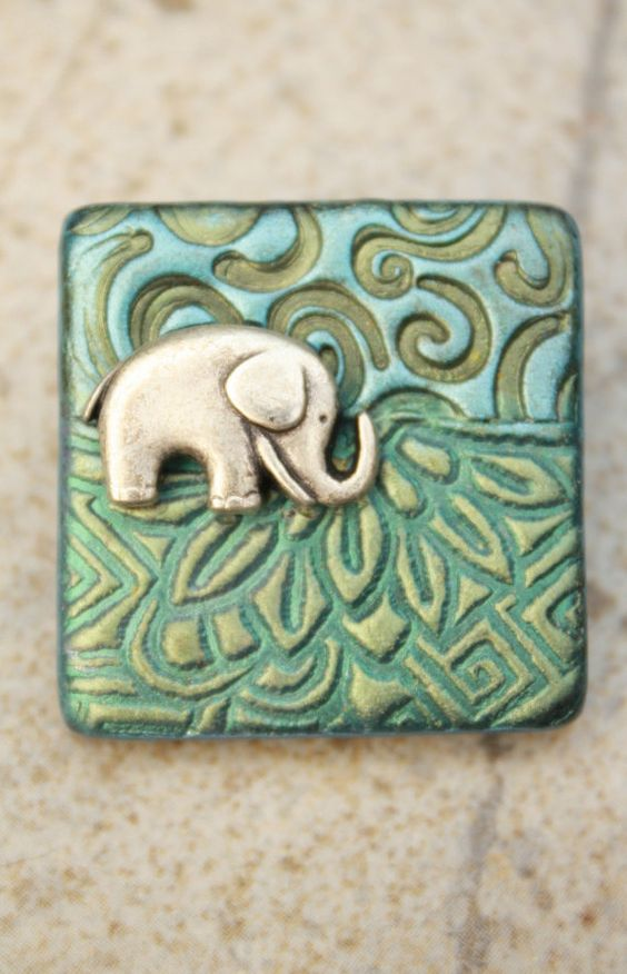 Handmade Elephant Pin Elephant Brooch Sage Green Turquoise by etsy artist singingcatstudio
