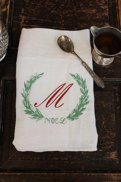 christmas towel  1  kitchen towel  flour sack towel  christmas monogrammed towel dish towel