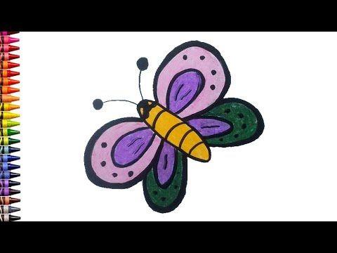 Menggambar Dan Mewarnai Kupu Kupu Untuk Anak Tk Menggunakan Crayon