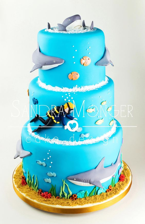 Shark and Diving Cake with Grey Reef Sharks and Hammerhead Sharks.