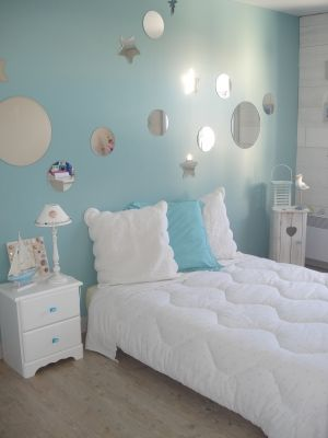D coration and roses on pinterest for Deco chambre fille bleu