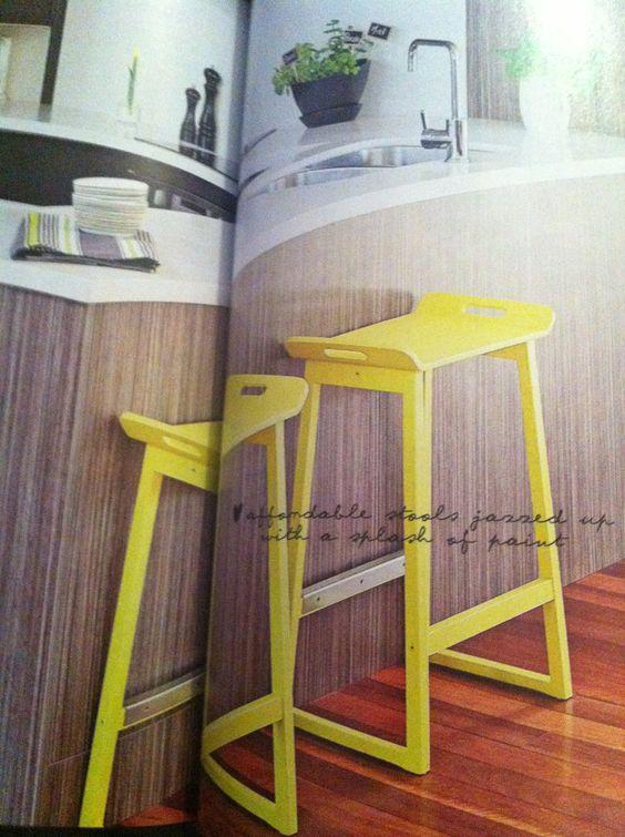 Cheap Ikea Bar Stools Painted Yellow Interiors