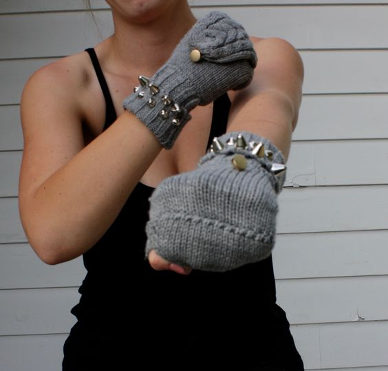 Transitional Gloves. Fingerless to Mittens. Grey. Studded. | Shop this product here: http://spreesy.com/PlatformsandPacifiers/4 | Shop all of our products at http://spreesy.com/PlatformsandPacifiers    | Pinterest selling powered by Spreesy.com