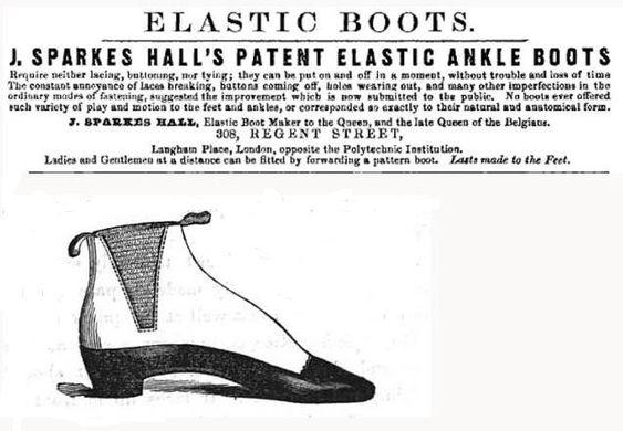 De acordo com o website Gentleman's Gazette, J.Sparkes-Hall criou e patenteou a bota de cano curto com elásticos laterais em 1851. Mais tarde esse modelo viria a ser conhecido como Chelsea. J. Sparkes-Hall mencionou que a rainha Victoria usou e aprovou sua criação!  Desde essa época as botas Chelsea eram usadas por homens e mulheres.