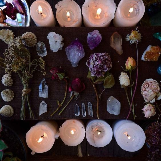 Candles and crystals and flowers - what more do you need for a witch's altar?