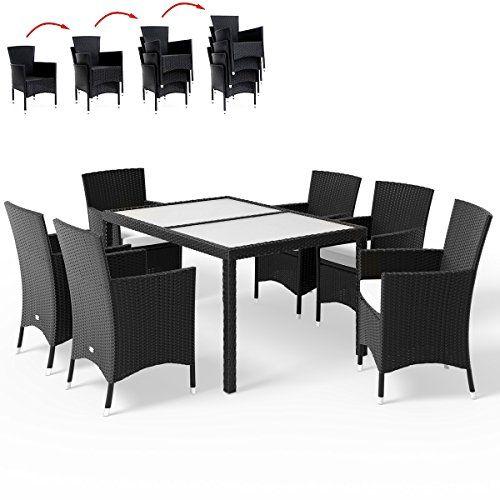 Deuba Poly Rattan Sitzgruppe 6 1 Schwarz 6 Stapelbare Stuhle