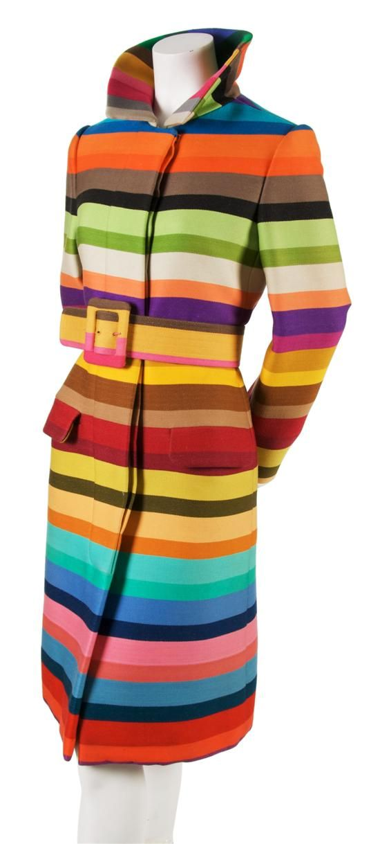 A Donald Brooks Wool Technicolor Striped Coat  1960s vintage fashion: