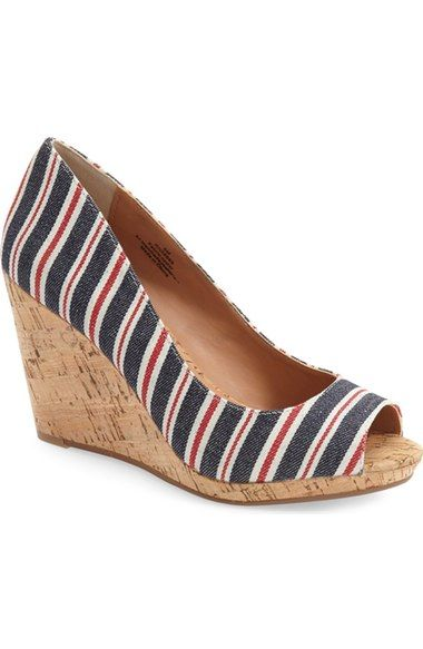 cute striped cork wedge sandals