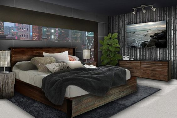 Best Inspirations For Male Bedroom Designs : Modern Grey Scheme Male Bedroom Design With Neutral Brown Wood Materials Bed Frame That Have Black Bedding Complete With The Pillows And Natural Trunk Materials Bedside Table Furniture That Have Table Lamp Also Corner Space Green Plant Decorations