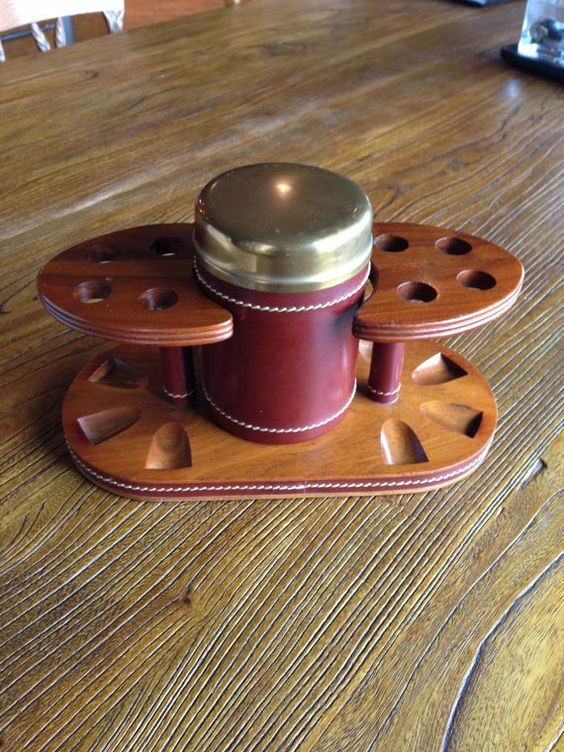 Vintage Tobacco Container Humidor And Pipe Stand