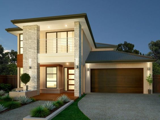 Photo of a brick house exterior from real australian home for Exterior facade ideas