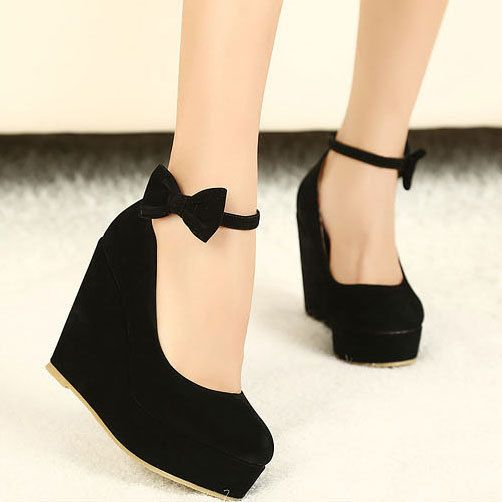Sweet Platform Wedge Heels Closed-toe Prom Shoes with Bowknot | In ...