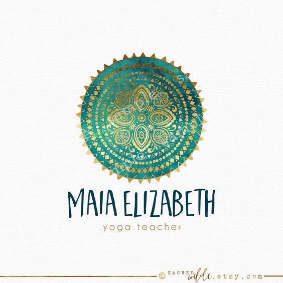 Mandala tribal Logo diseño Mandala Floral Teal por SacredWilde