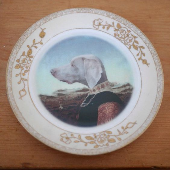 VTG Nippon Beat Up Creations Duchess Saxe-Weimar-Eisenach Weimaraner Dog Plate
