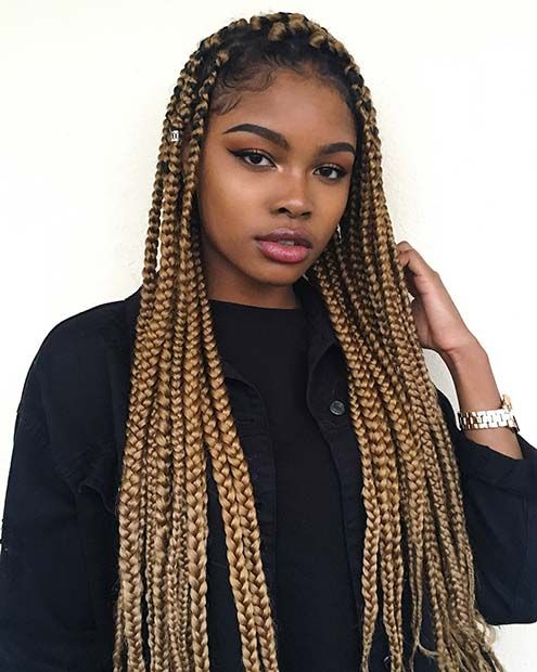 23 Cool Blonde Box Braids Hairstyles To Try Stayglam Blonde Box Braids Short Box Braids Box Braids Styling
