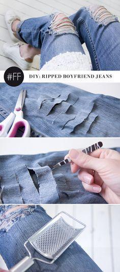 DIY: ripped boyfriend jeans
