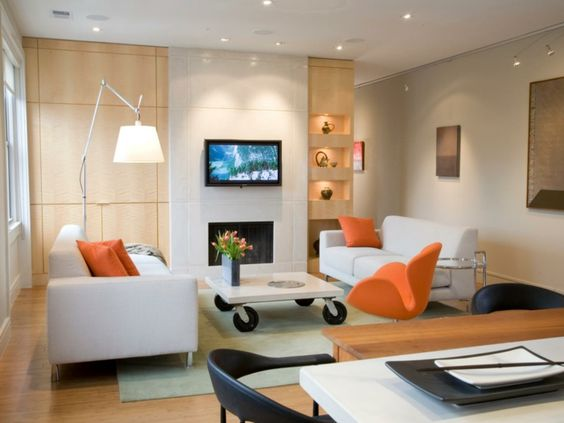 Gemütliches wohnzimmer ~ Kleines zimmer einrichten gemütliches wohnzimmer orange akzente