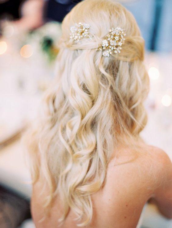 bridal half-up do with curls http://itgirlweddings.com/destination-vail-wedding/
